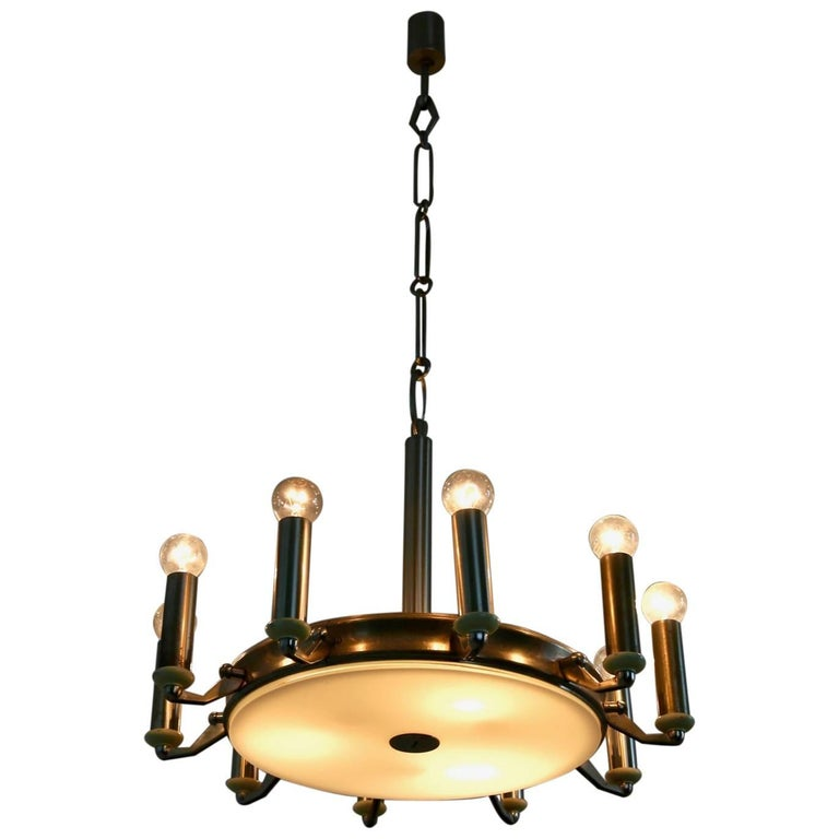 Round Nickel-Plated and Varnished Metal Chandelier, Italy, 1950s For Sale