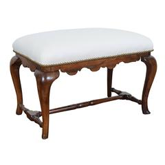 Spanish Queen Anne Style Walnut and Upholstered Bench, Mid-18th Century