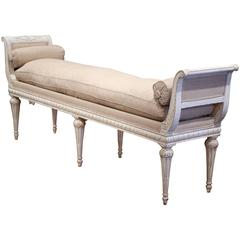 Late 19th Century French Directoire Carved Painted Six-Leg Bench with Cushion