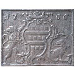 18th Century, French 'Coat of Arms' Fireback