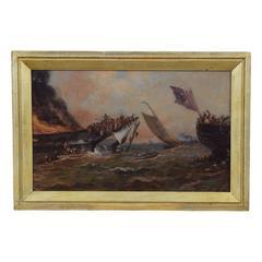 "French Oil on Board, ""a Battle at Sea,"" circa 1871"