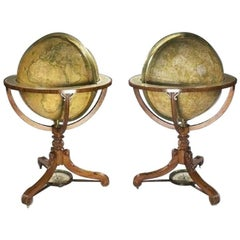 Rare Pair of Globes by Newton
