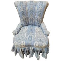 Romantic Channel Back Paisley Upholstered Slipper Chair