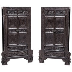 Pair of Chinese Ornate Cabinets with Cabriole Legs