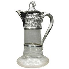 George V Silver Mounted Glass Claret Jug / Wine Decanter, Hallmarked London 1933