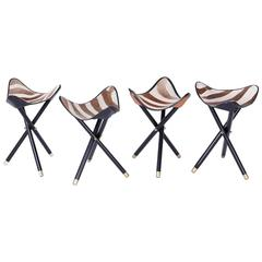 Group of Four Campaign Style Zebra Hide Folding Stools, Available Individually