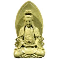 Finely Carved Soapstone Buddhist Stele of Bodhisattva Avalokiteshvara (Guanyin)