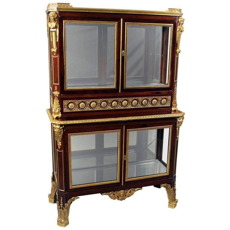 Fine late 19th century gilt bronze mounted vitrine cabinet for Sideboard vitrine
