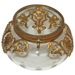 Beautiful French Round Crystal Dore Bronze Ormolu Neoclassical Putti Regency Box