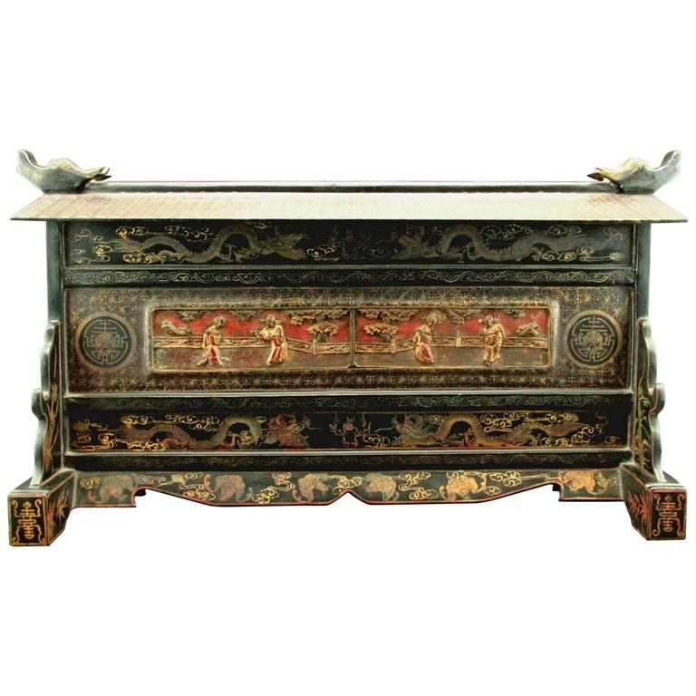 Highly Decorative Black Lacquer Table Screen, Probably 'Straits Chinese'