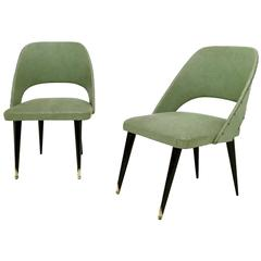 Pair of Green Vintage Skai Side Chairs with Ebonized Legs, Italy, 1950s