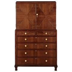 Art Deco Inlaid Rosewood Chiffonier Linen Press by Heal & Son, England