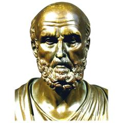 Grand Tour Style Bronze Bust of a Greek Philosopher, After Mathurin Moreau