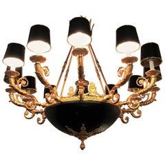 Empire Style Monumental Twelve-Arm Chandelier Bronze and Ebony High Lights