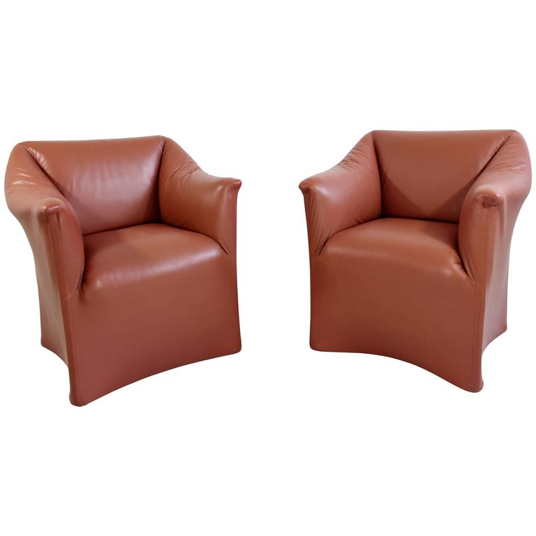 Mid-Century Modern Pair Tentazione Leather Lounge Chairs by Bellini for Cassina