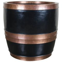 Temple Bell Small Pot with Copper Bands, Black Lacquer by Robert Kuo