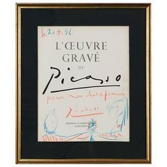 Pablo Picasso Drawing 'Pours Mes Chers Fiancés,' 1956