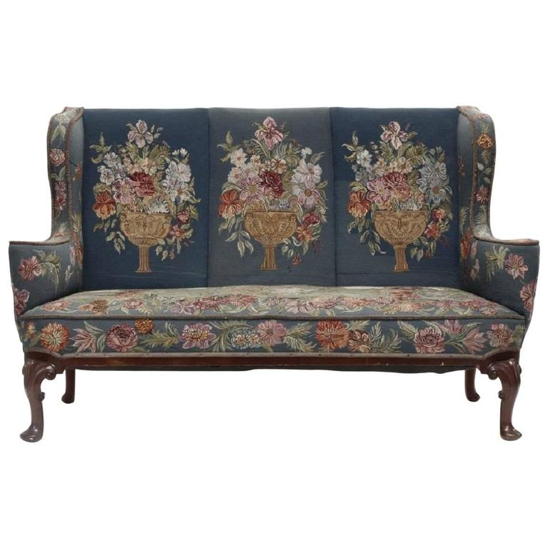 Attractive Queen Anne Style Mahogany Sofa For