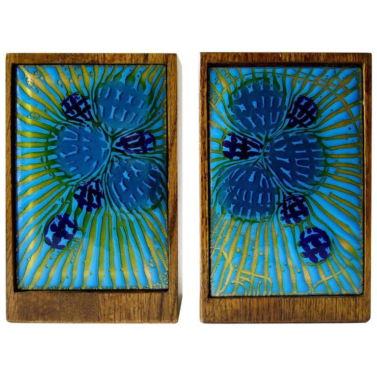 Anne Marie Davidson Enamel Wood Bookends