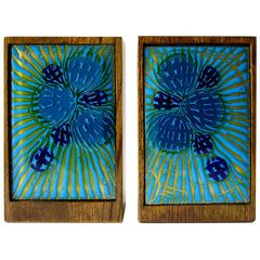 Anne Marie Davidson Enamel Wood Bookends