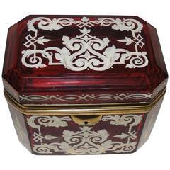 Beautiful Hand-Painted Beveled Ruby Glass Crystal Ormolu Box Ormolu Fine Casket