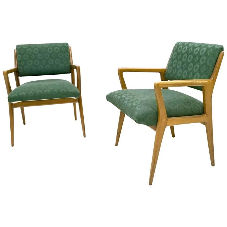 Pair of Solid Walnut Armchairs in the Style of Gio Ponti, Italy, 1950s For Sale