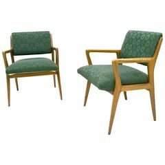 Pair of Solid Walnut Armchairs in the Style of Gio Ponti, Italy, 1950s