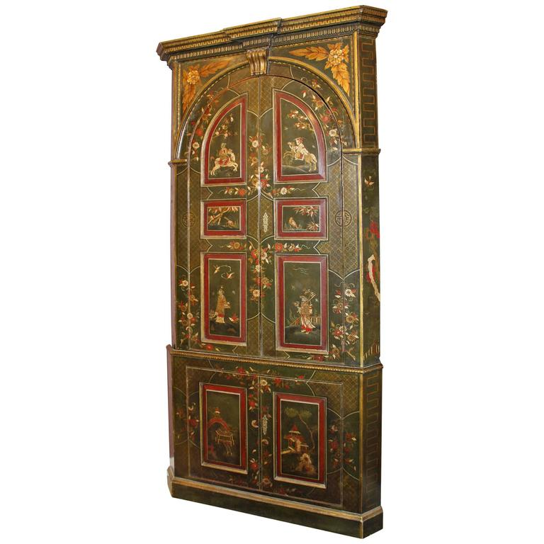 Exceptional George III Chinoiserie Two-Part Corner Cupboard