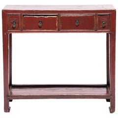 Four-Drawer Chinese Red Lacquer Table with Shelf