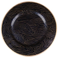 Charger - Black Woodgrain Design Cloisonné by Robert Kuo, Limited Edition