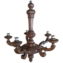 Italian Carved Wood Five Candle Chandelier, 19th Century