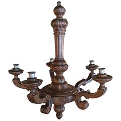 Italian Carved Wood Five-Light Chandelier, 19th Century