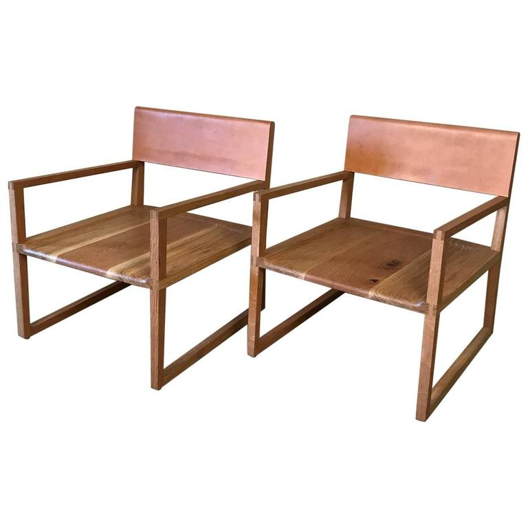 Leather Back Readers, A Pair Of Armchairs By Max Greenberg For Works  Progress 1 Part 50