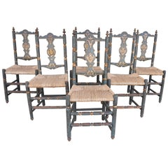 Six Italian Saint Anna Chairs from Abruzzo with Blue Paint and Rush Seats