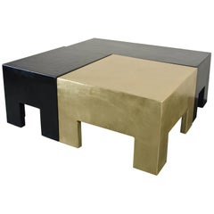 Sectional Coffee Table, Black Lacquer and Brass by Robert Kuo, Limited Edition
