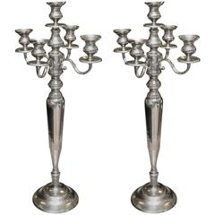 Large Empire Style Silver Plated Candelabra
