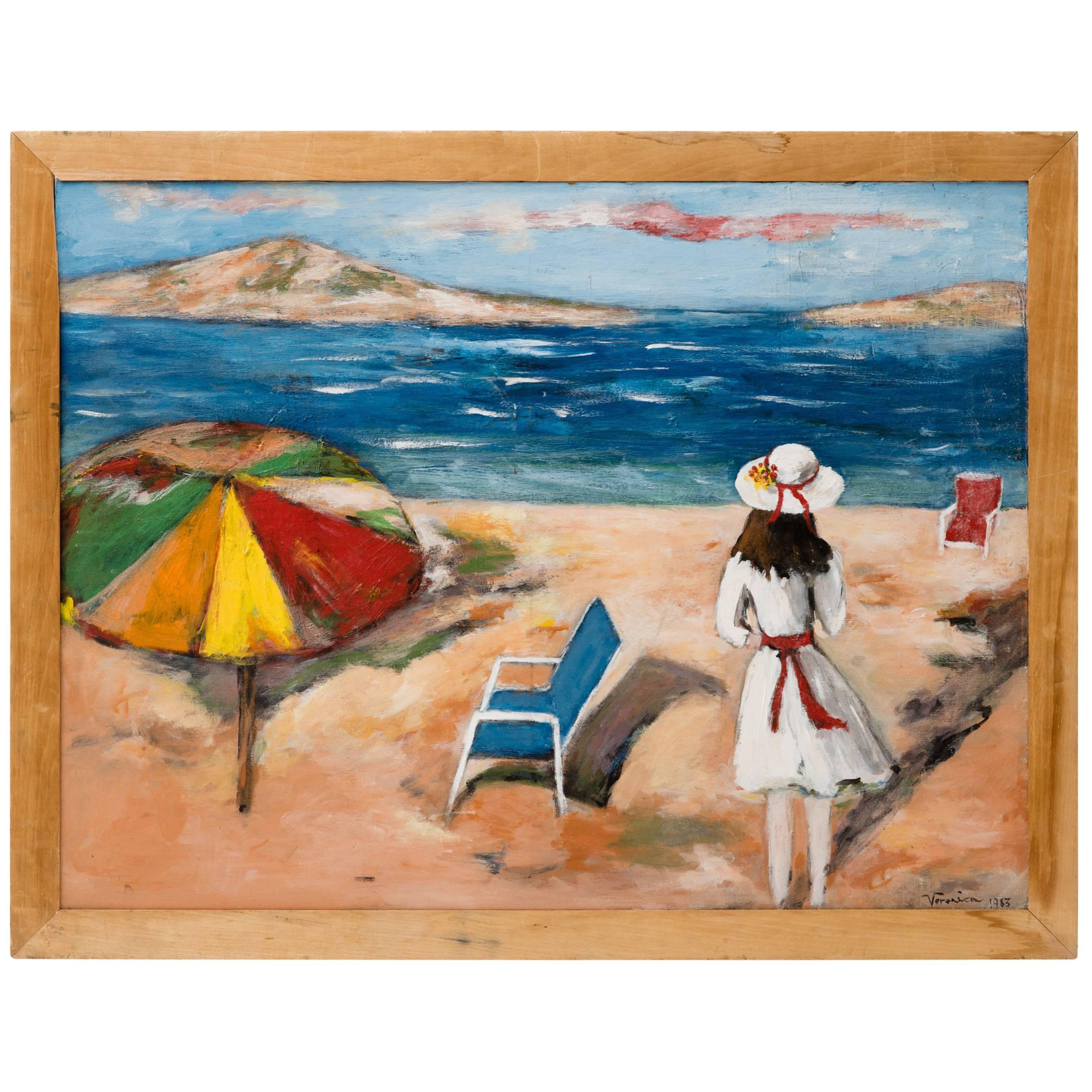 Surrealist Mediterranean Beach Scene Painting, circa 1983