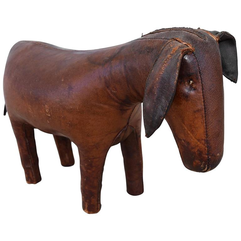 1960s-1970s Leather Donkey Footstool by Dimitri Omersa for Abercrombie & Fitch