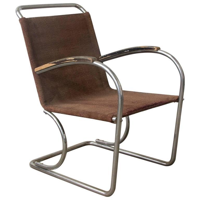 Original, Early Vintage Tubular Easy Chair with Original Fabric, circa 1930