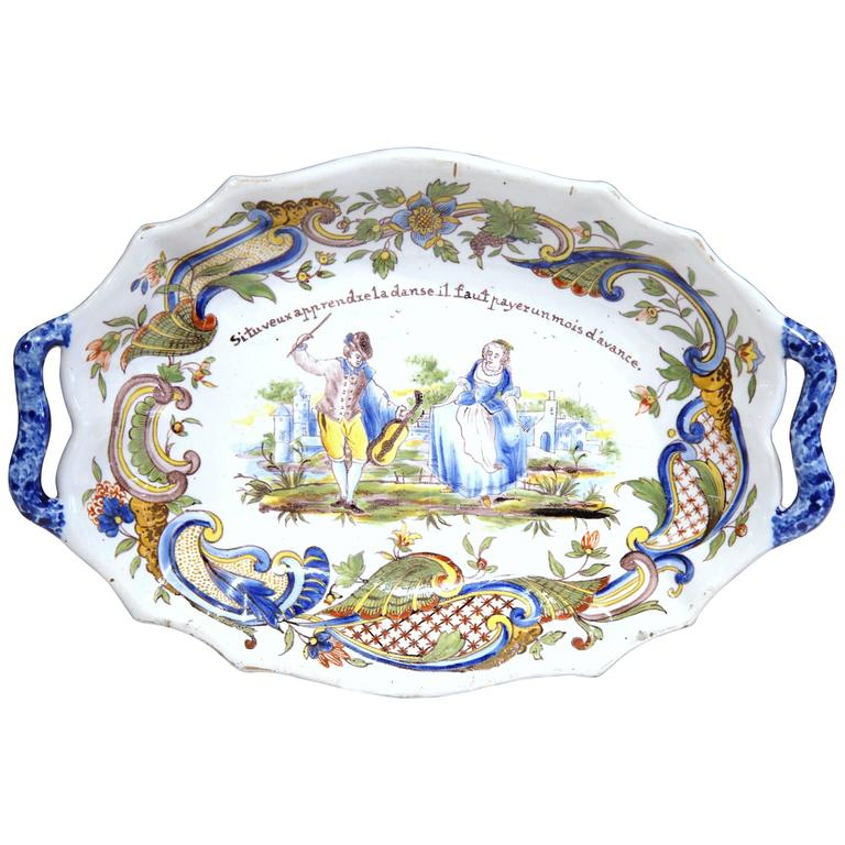 19th Century French Painted Oval Faience Wall Platter with Handles from Rouen For Sale