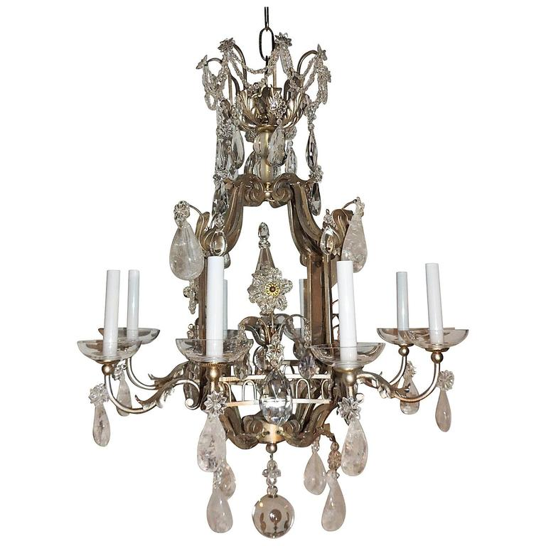 Transitional Pagoda Bagues Jansen Eight-Light Gilt Rock Crystal Chandelier 1