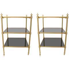 Pair of Stephane Boudin for Maison Jansen Side Tables in Brass & Black Lacquer