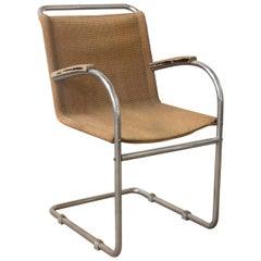 Early Vintage Tubular Side Chair with Original Fabric, circa 1930