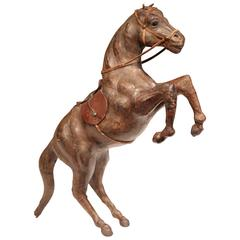 19th Century French Carved and Patinated Leather Rearing Horse Sculpture