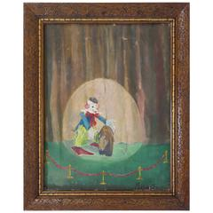 """Ta Da, a Bear"" Clown and Bear Oil on Canvas, Dated 1954"