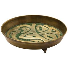 Salvador Mexican Modernist Brass and Stone Tray