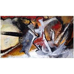 "Suzanne Clune Titled ""Figures"" Abstract Expressionism"