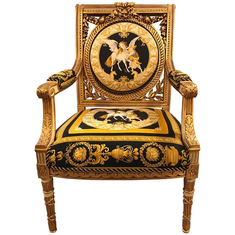 Beau Custom Versace Louis XVI Style Armchair Vintage, 1980s For Sale