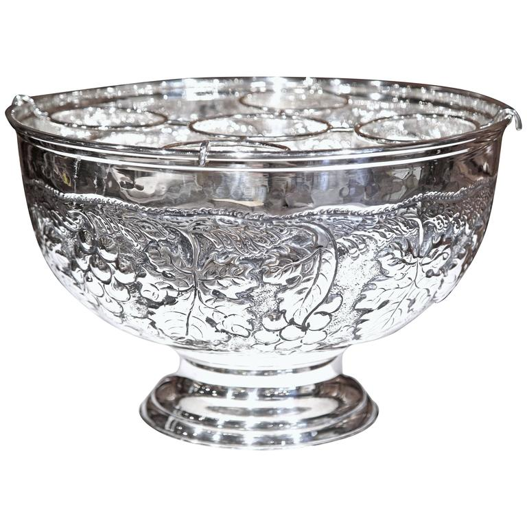 Large French Silver Plated Repousse Round Champagne or Wine Cooler For Sale