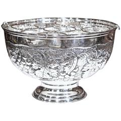Large French Silver Plated Repousse Round Champagne or Wine Cooler